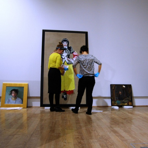 BP Portrait Awards from National Portrait Gallery being installed at Sunderland Museum & Winter Gardens